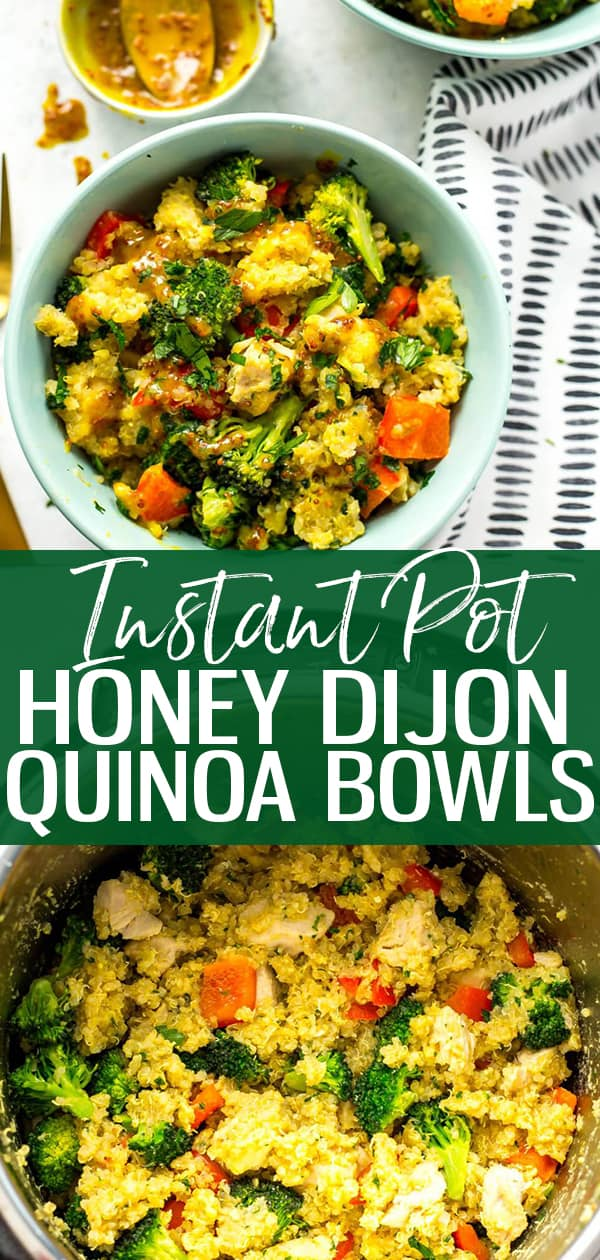 These Instant Pot Honey Dijon Chicken Quinoa Bowls are a simple and tasty meal prep lunch idea that you can make ahead for the work week - the secret sauce is honey mustard so you can make this recipe using mostly pantry staples!
