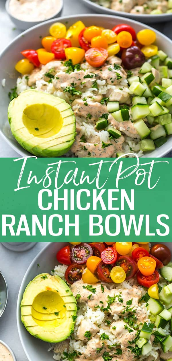 These Instant Pot Chicken Ranch Rice Bowls are a tasty option for lunch or dinner and make delicious meal prep bowls - make the homemade blackened ranch dressing while everything's cooking in the Instant Pot then add fresh veggies!