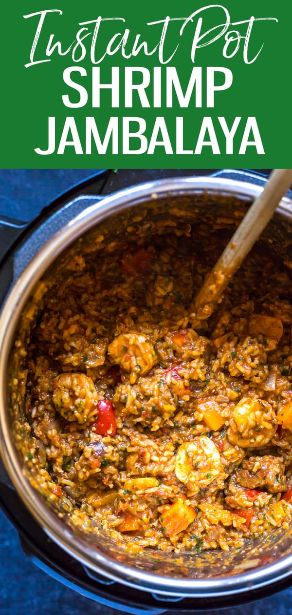 This Easy Instant Pot Jambalaya is filled with turkey sausage, shrimp, rice and a delicious Cajun-inspired sauce that makes a great weeknight dinner idea! #instantpot #jambalaya