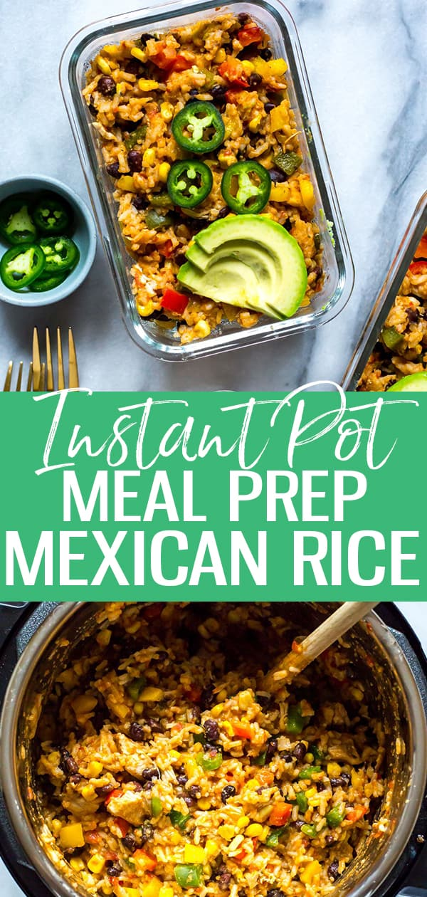 This Instant Pot Mexican Rice is like a big one pot chicken burrito bowl filled with all your favourite tex mex toppings - and it's perfect to take for lunch in some meal prep bowls!