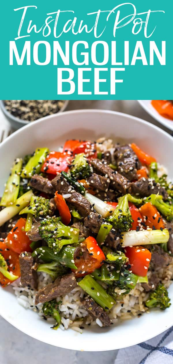 This Instant Pot Mongolian Beef is a 30-minute stir fry idea that's a great copycat version of the one from your favourite Chinese restaurant! #mongolianbeef #instantpot