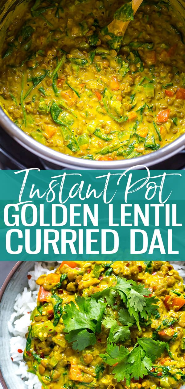 This Instant Pot Dal is like a thick curried lentil soup just bursting with flavour and delicious spices - it's a creamy coconut milk based lentil stew that is hearty enough to satisfy your appetite even though it's vegan, and you should have most ingredients in your pantry at home!