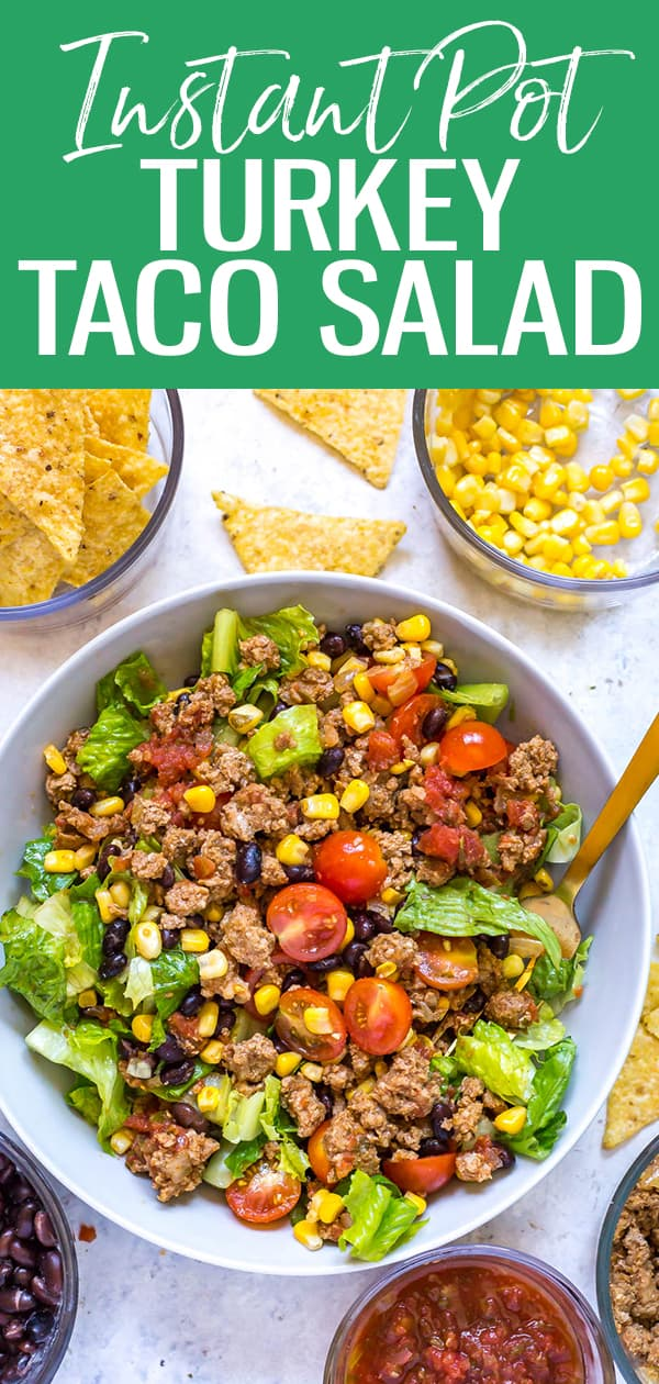 ThisInstant Pot Taco Meat is the perfect filling for taco salad jars - you can make it with ground beef, chicken or turkey and it all comes together with mostly simple ingredients from your pantry too! #tacosalad #instantpot