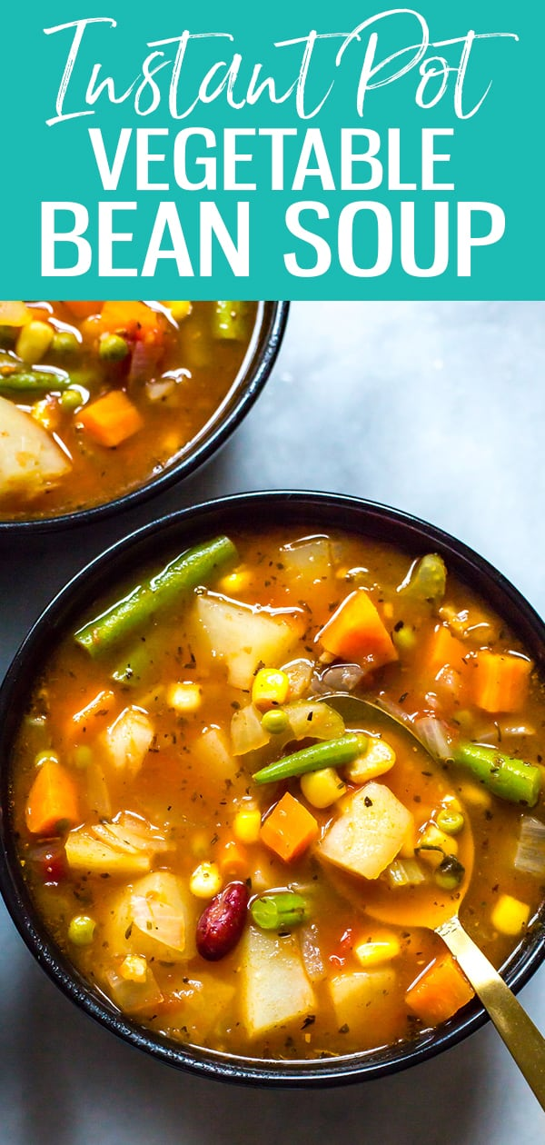 This Instant Pot Vegetable Bean Soup is a delicious vegetarian, gluten-free soup recipe that comes together in one pot - and it's much healthier for you than store bought canned soup! #vegetablesoup #instantpot #beansoup