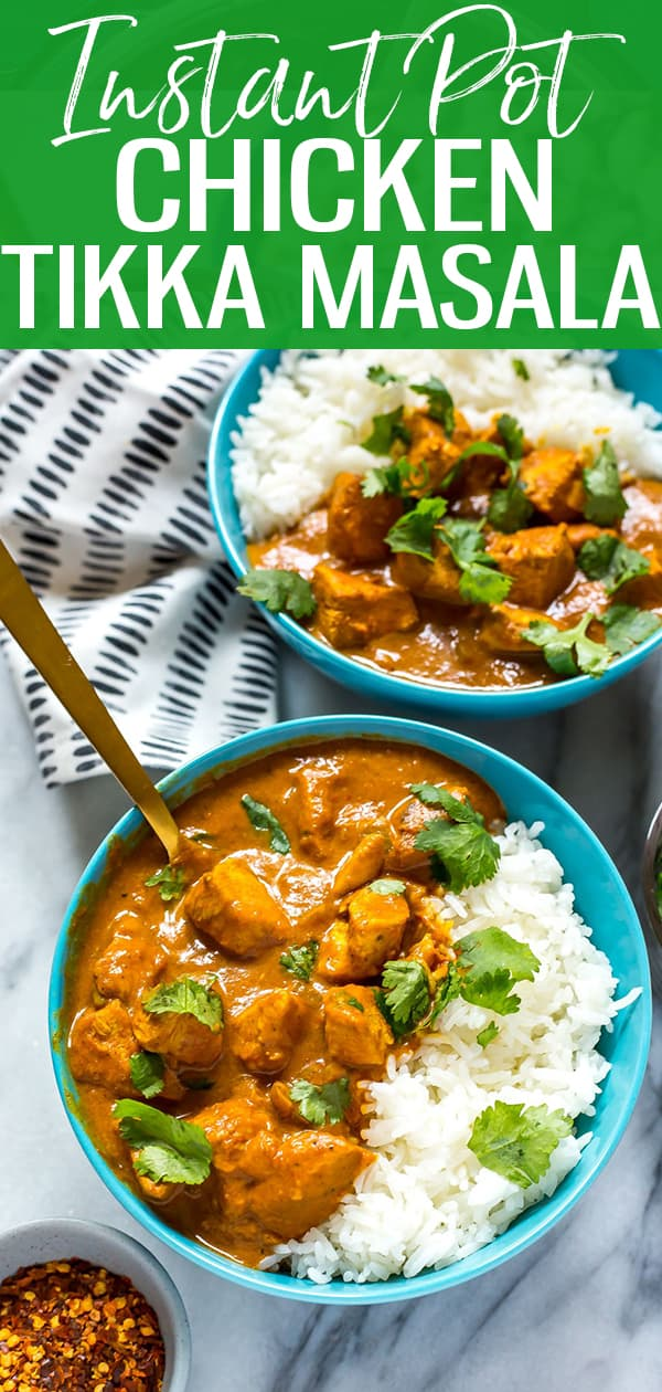 This Instant Pot Chicken Tikka Masala is a delicious Indian-inspired one pot dinner idea that is ready in 30 minutes or less! Serve with some basmati rice and fresh cilantro and you've got dinner on the table fast!