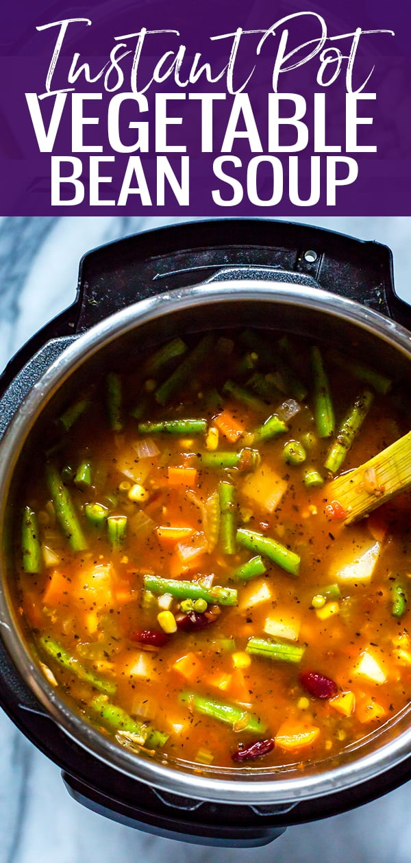 This Instant Pot Vegetable Bean Soup is a delicious vegetarian, gluten-free soup recipe that comes together in one pot - and it's much healthier for you than store bought canned soup!