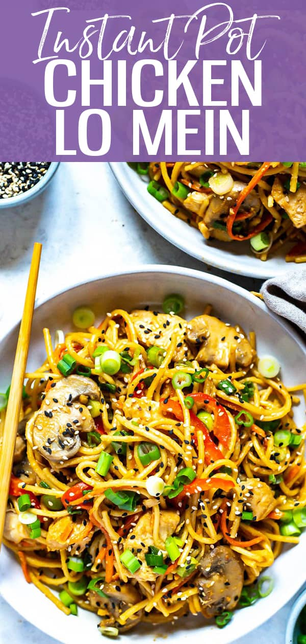 ThisInstant Pot Lo Mein with Chicken is made super easy in your pressure cooker with regular old spaghetti - make Chinese takeout at home with this veggie-packed lo mein recipe!