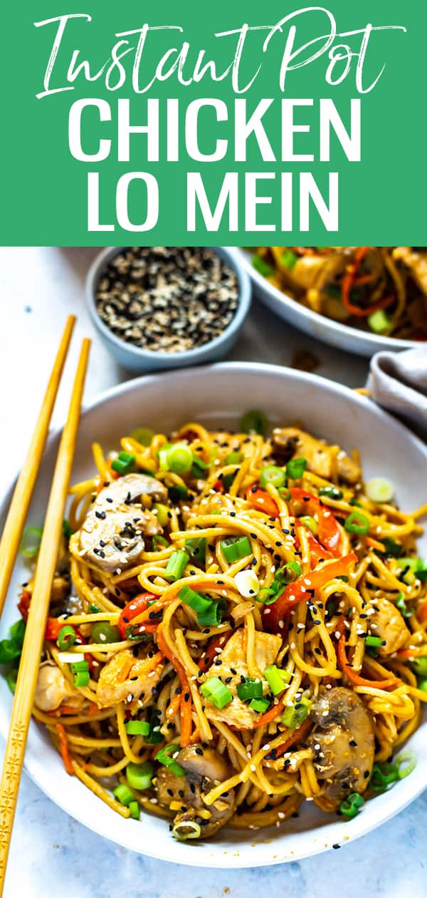 ThisInstant Pot Lo Mein with Chicken is made super easy in your pressure cooker with regular old spaghetti - make Chinese takeout at home with this veggie-packed lo mein recipe! #instantpot #lomein