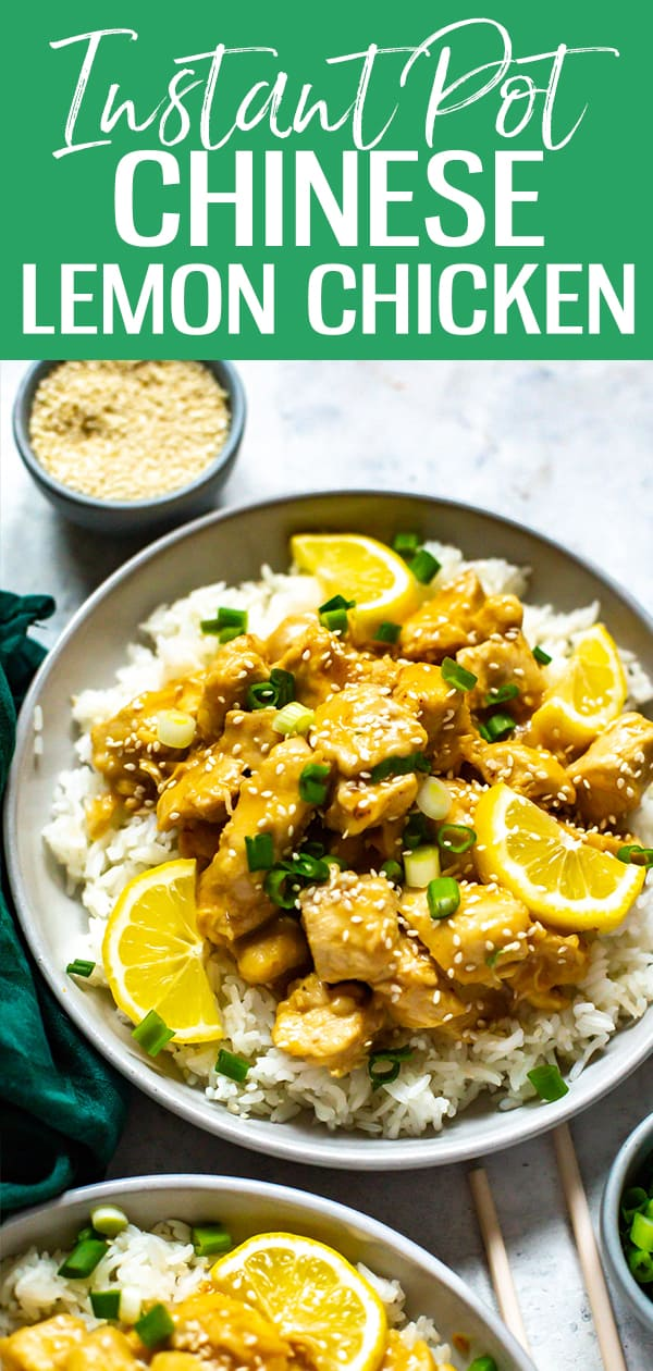 This Instant Pot Chinese Lemon Chicken is a delicious takeout recipe with a savoury lemon sauce that comes together with pantry staples! #lemonchicken #chinese #instantpot