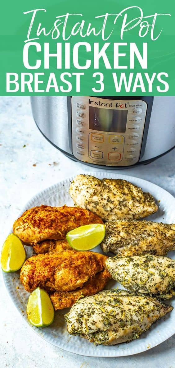 This Instant Pot Chicken Breast recipe is a failproof method of making juicy, delicious chicken breasts in your pressure cooker - I've listed 3 ways of seasoning them too! #instantpot #chickenbreast