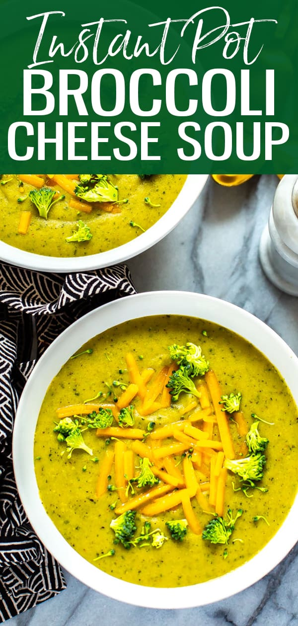 This Instant Pot Broccoli Cheese Soup isa hearty, healthy soup filled with veggies and cheddar cheese that comes together in 30 minutes thanks to your pressure cooker! #instantpot #broccolicheesesoup #broccolicheddar