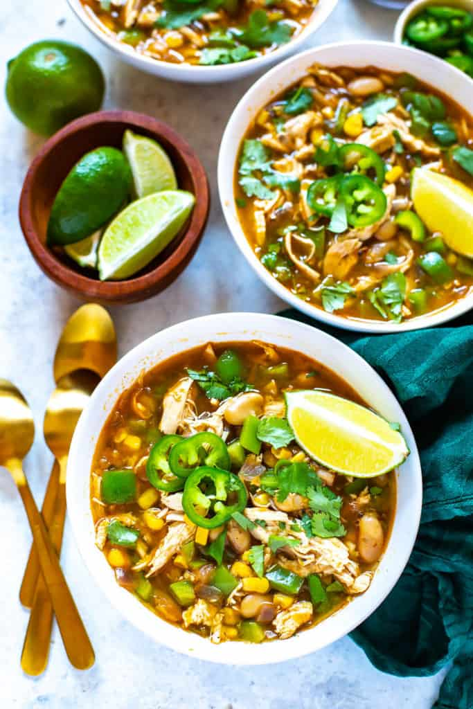 Instant Pot White Chicken Chili, served in bowls