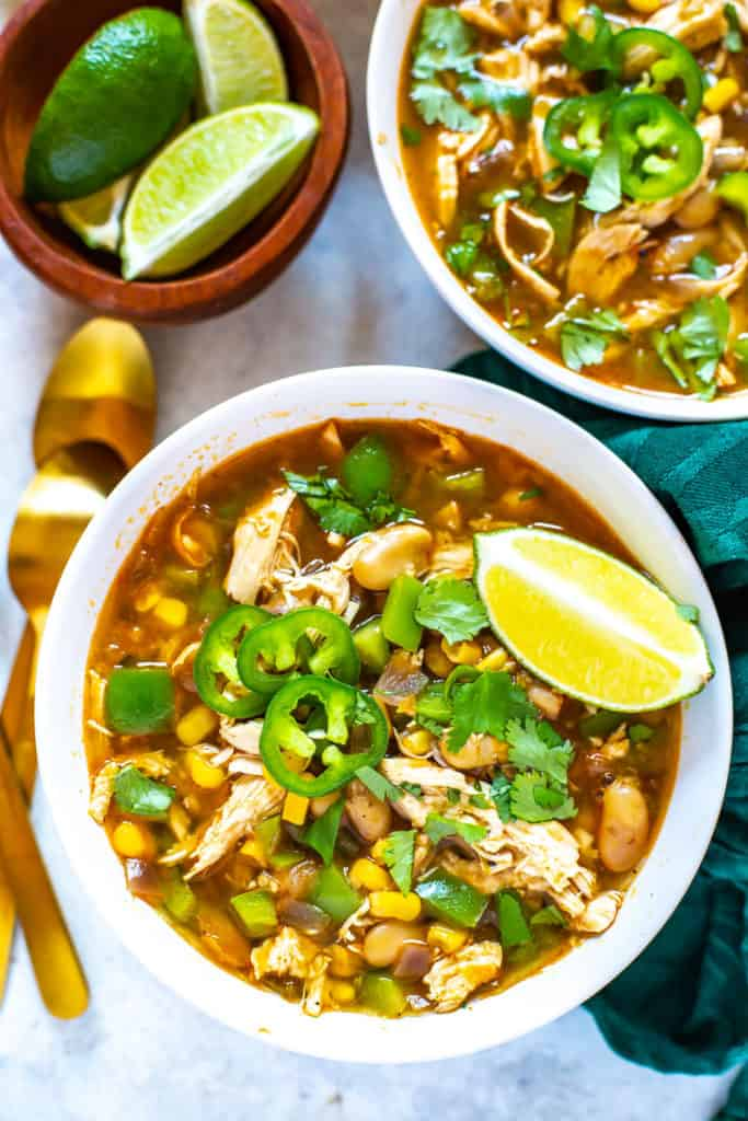 bowl of homemade chili with white beans and chicken