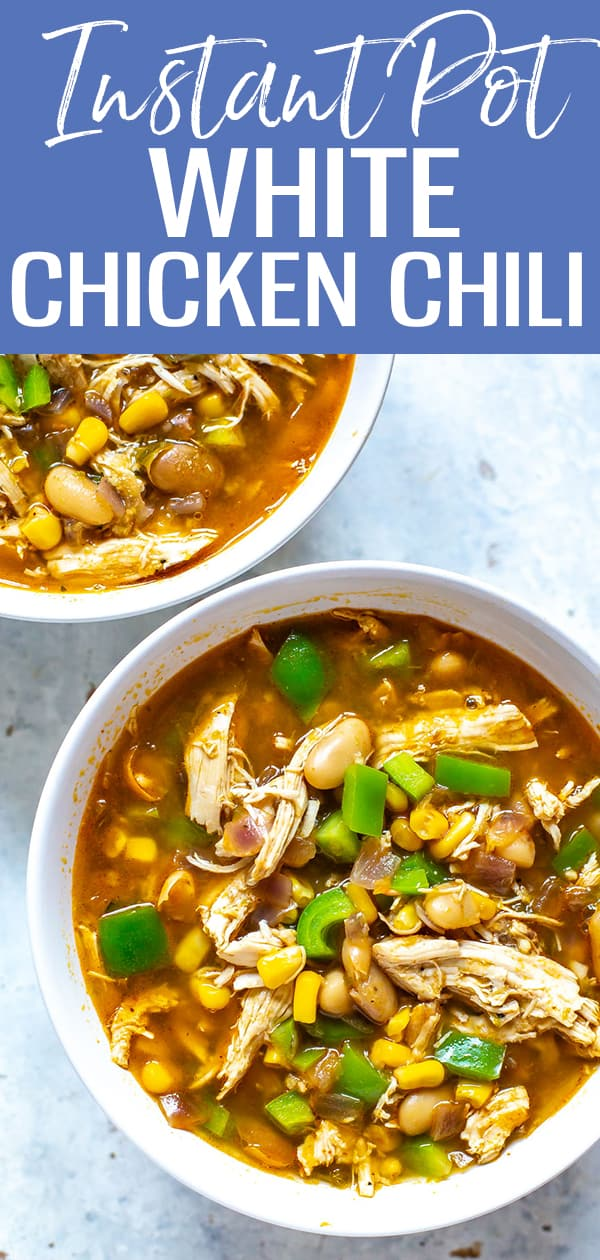 This Instant Pot White Chicken Chili is a delicious, spicy spin on the classic made with green chilis, white beans and shredded chicken! #instantpot #whitechili #chickenchili