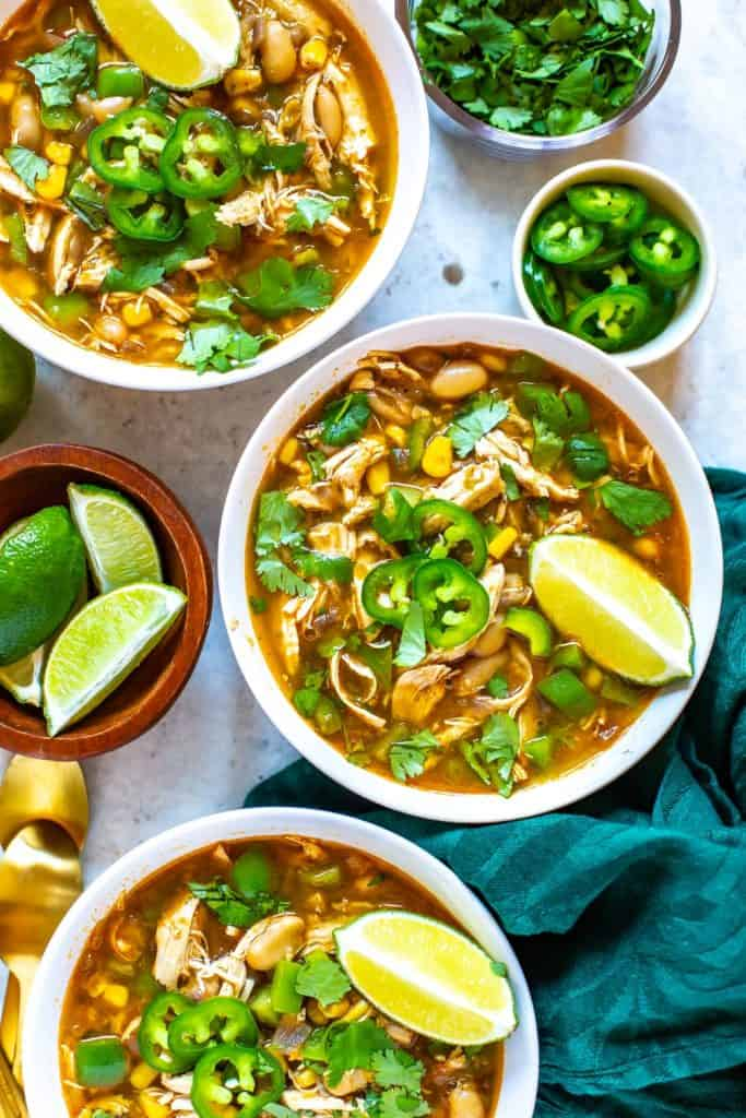 bowls of healthy White Chicken Chili