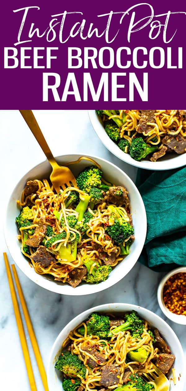 This Instant Pot Beef and Broccoli Ramen is a delicious stir fry noodle dish that comes together in one pot, made with basic pantry staples from your cupboard. #instantpot #beefbroccoli #ramen #stirfry
