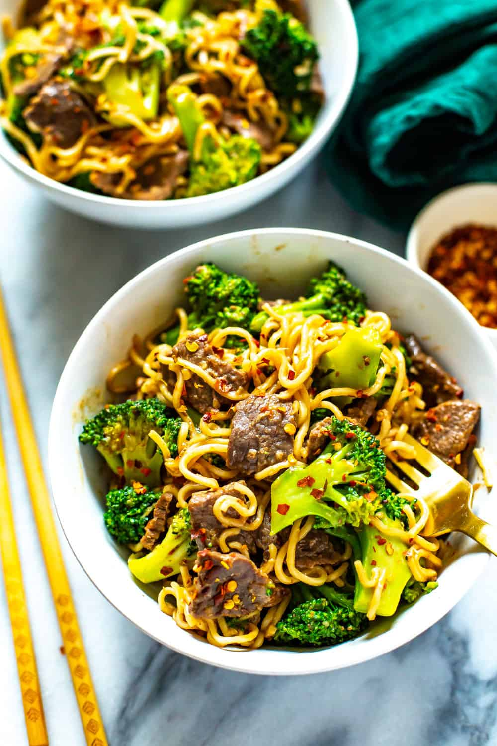 healthy dinner of Asian beef with broccoli