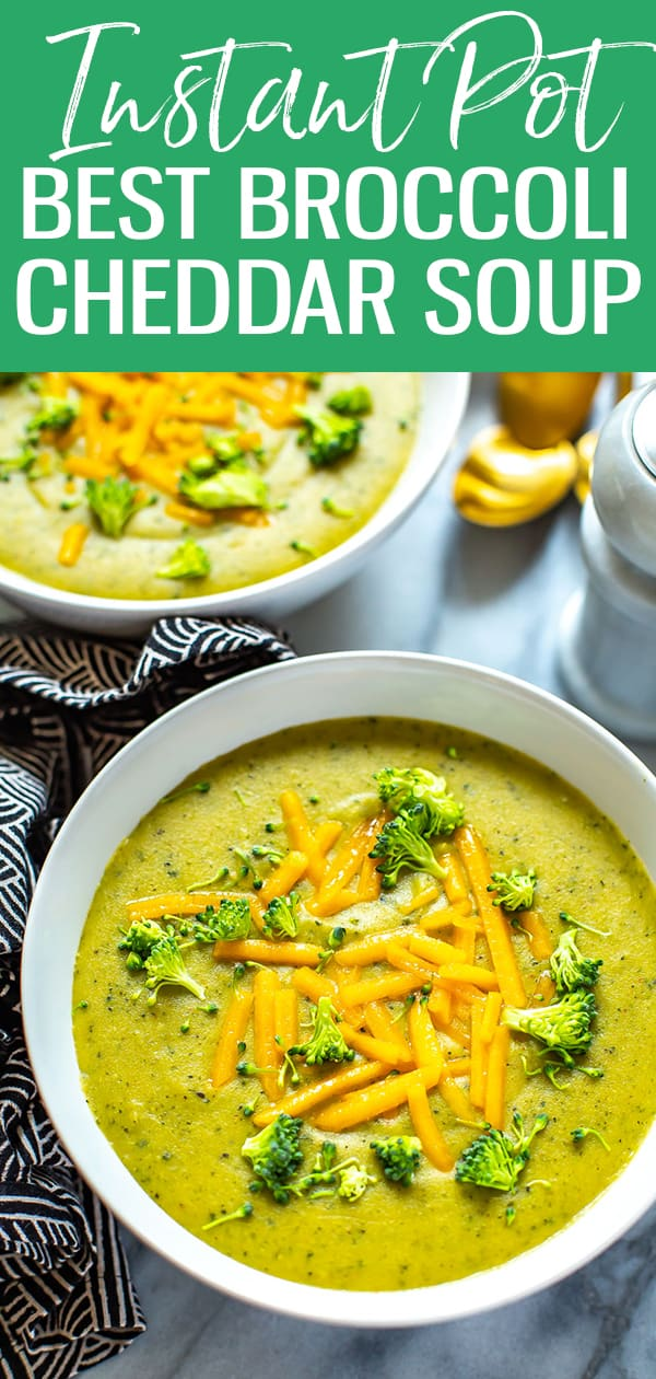 This Instant Pot Broccoli Cheese Soup is a hearty, healthy soup filled with veggies and cheddar cheese. Super quick to make, this broccoli cheese soup recipe comes together in 30 minutes, thanks to your pressure cooker! #instantpot #broccolisoup
