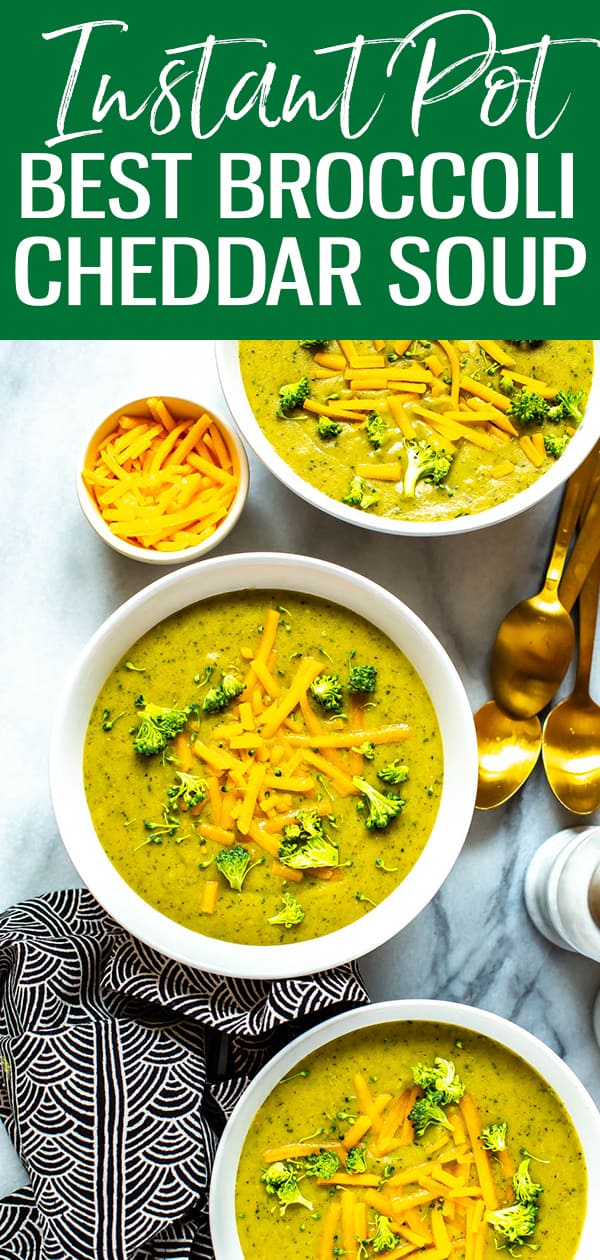 This Instant Pot Broccoli Cheese Soup isa hearty, healthy soup filled with veggies and cheddar cheese. Super quick to make, this broccoli cheese soup recipe comes together in 30 minutes, thanks to your pressure cooker!#instantpot #broccolisoup
