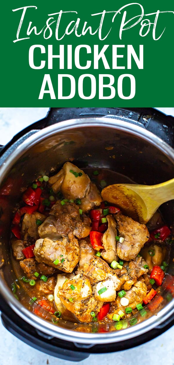 ThisInstantPotChickenAdoboisadelicious Filipinodishthatcomestogethereasilywiththehelpofyourpressurecooker. This recipe makes a dish with all the flavors of authentic adobo, in a fraction of the time! #instantpot #chickenadobo