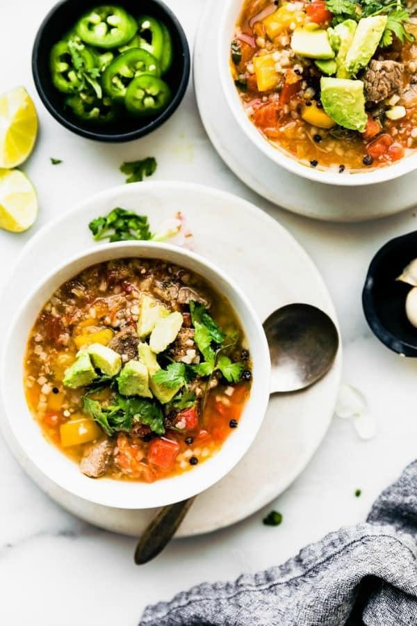 bowls of Paleo Steak Fajita Soup
