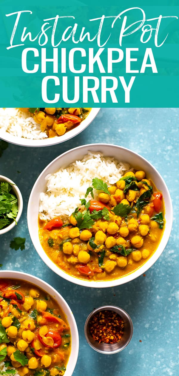 This Instant Pot Chickpea Curry with coconut milk is a healthy vegan recipe. It comes together in one pot for easy meal prep, and this easy dinner is made using pantry staples! This healthy curry is vegan, dairy free, and gluten-free. #chickpeacurry #instantpot