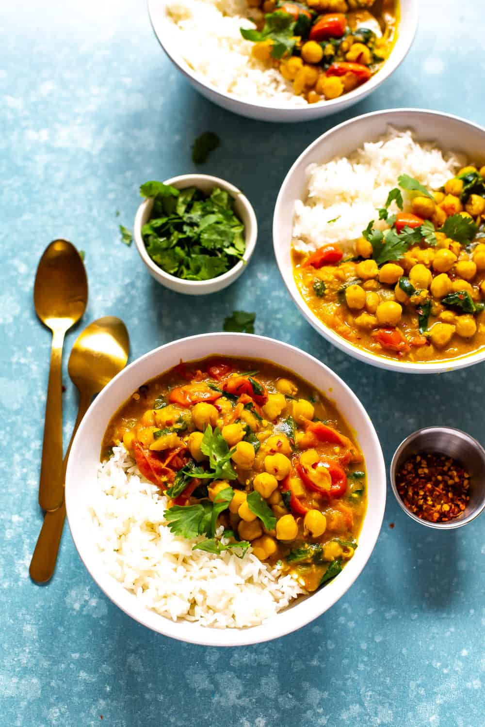white rice and chickpea curry made with coconut milk