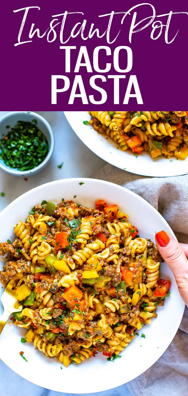 This Instant Pot Taco Pasta is a delicious, cheesy pasta recipe perfect for busy weeknights and weekly meal prep. Just add pasta, ground beef, salsa, cheese, and bell peppers. #instantpot #tacopasta