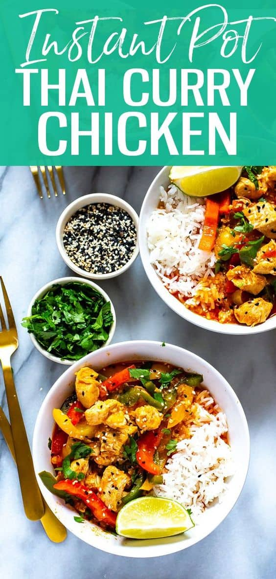 This Instant Pot Thai Chicken Curry is a 30-minute meal idea made easy thanks to store-bought Thai red curry paste, coconut milk, and bell peppers!#instantpot #chickencurry #thaicurry