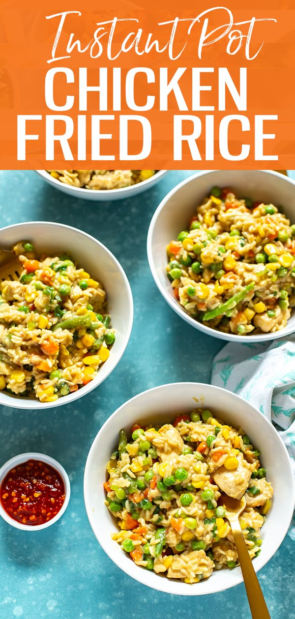 This Instant Pot Chicken Fried Rice is a healthy, delicious one pot rice idea with no clean up - it uses frozen veggies for a faster cook time too! #Instantpot #friedrice