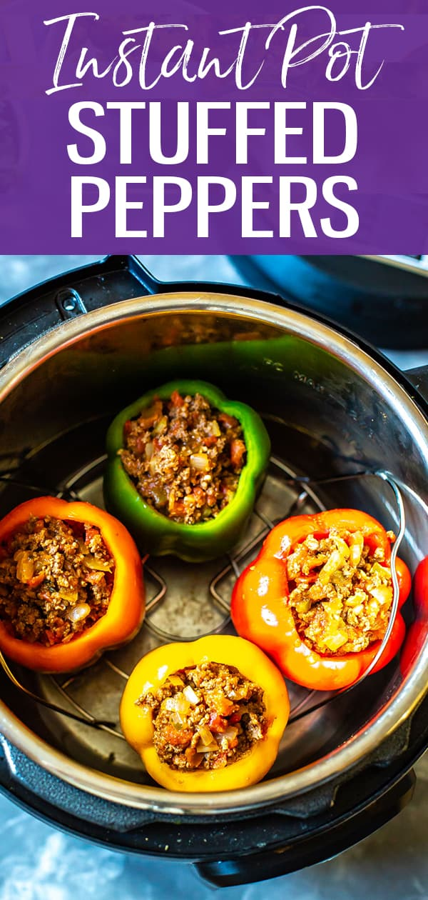 These Instant Pot Stuffed Peppers with ground beef are a delicious, low-carb option for busy weeknights with a Mexican twist. This recipe minimizes clean up too! #stuffedpeppers #instantpot
