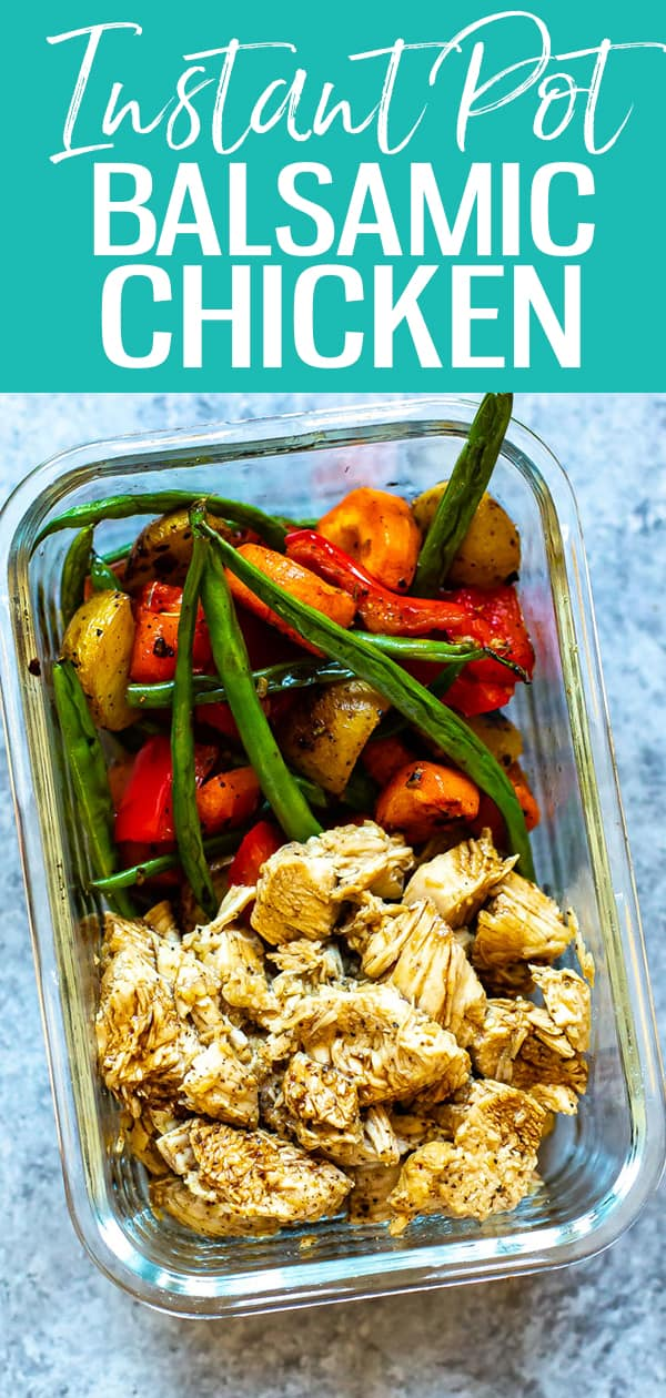 Instant Pot Honey Balsamic Chicken is the perfect meal prep recipe and a delicious way to pressure cook chicken breasts. Serve this healthy Instant Pot recipe with roasted vegetables for a full meal! #balsamicchicken #instantpot #mealprep