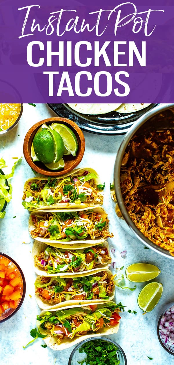 These Instant Pot Chicken Tacos are a healthy, easy way to meal prep for the work week! Treat them as a last minute dinner or turn the pulled chicken into taco bowls - the choice is yours! #instantpot #chickentacos