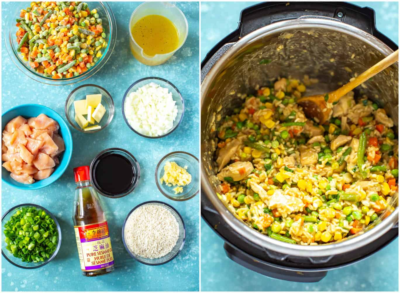 ingredients to make Instant Pot chicken fried rice