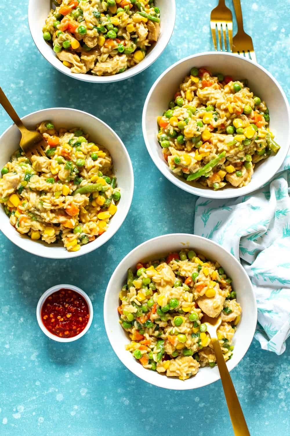 Instant Pot Chicken Fried Rice served in white bowls