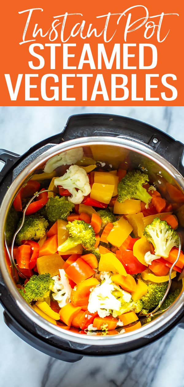 These Instant Pot Steamed Vegetables are super easy to make, requiring a pressure cook time of zero minutes. Yes, you read that correctly! Follow this no-fail method for perfect veggies every time #instantpot #steamedvegetables
