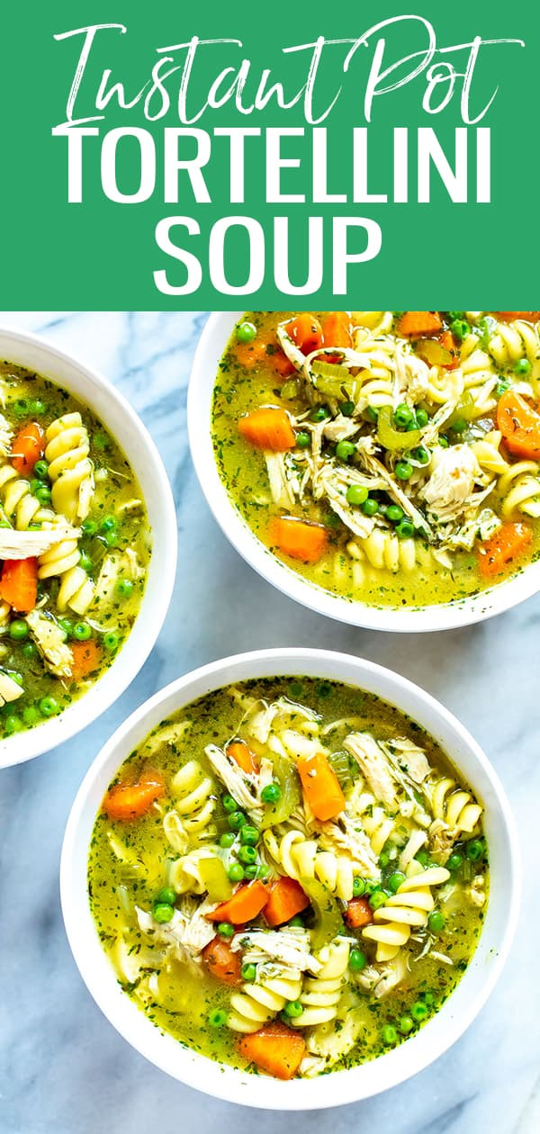 This is the BESTInstant Pot Chicken Noodle Soup recipe! Say hello to a super quick and easy homemade chicken soup that's ready in less than 30 minutes but filled with so much flavour! #tortellinisoup #instantpot