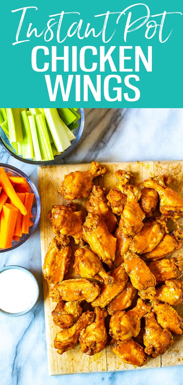 These Instant Pot Chicken Wings are the BEST out there and come together with just a 3-ingredient buffalo wing sauce. They are so easy to make and involve no deep frying either! #chickenwings #buffalowings #instantpot