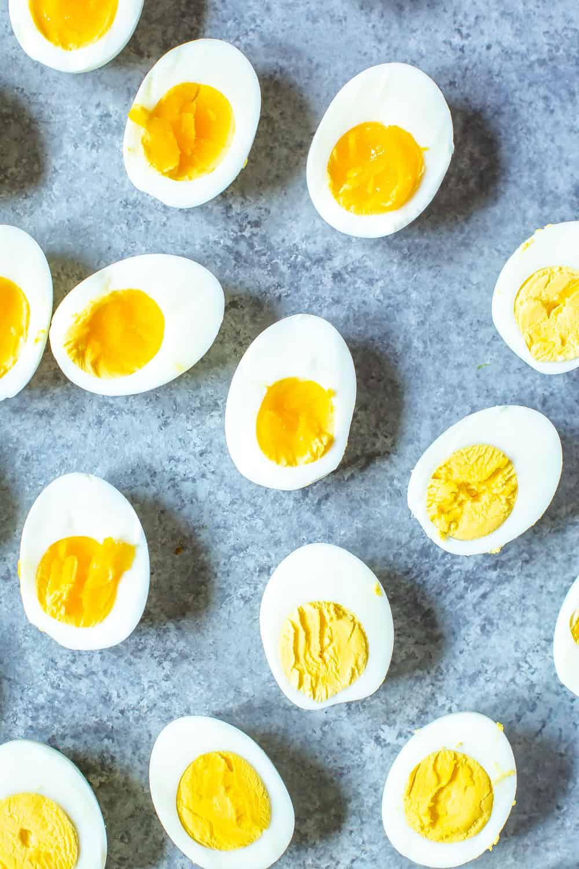 Instant Pot Hard Boiled Eggs, sliced in half