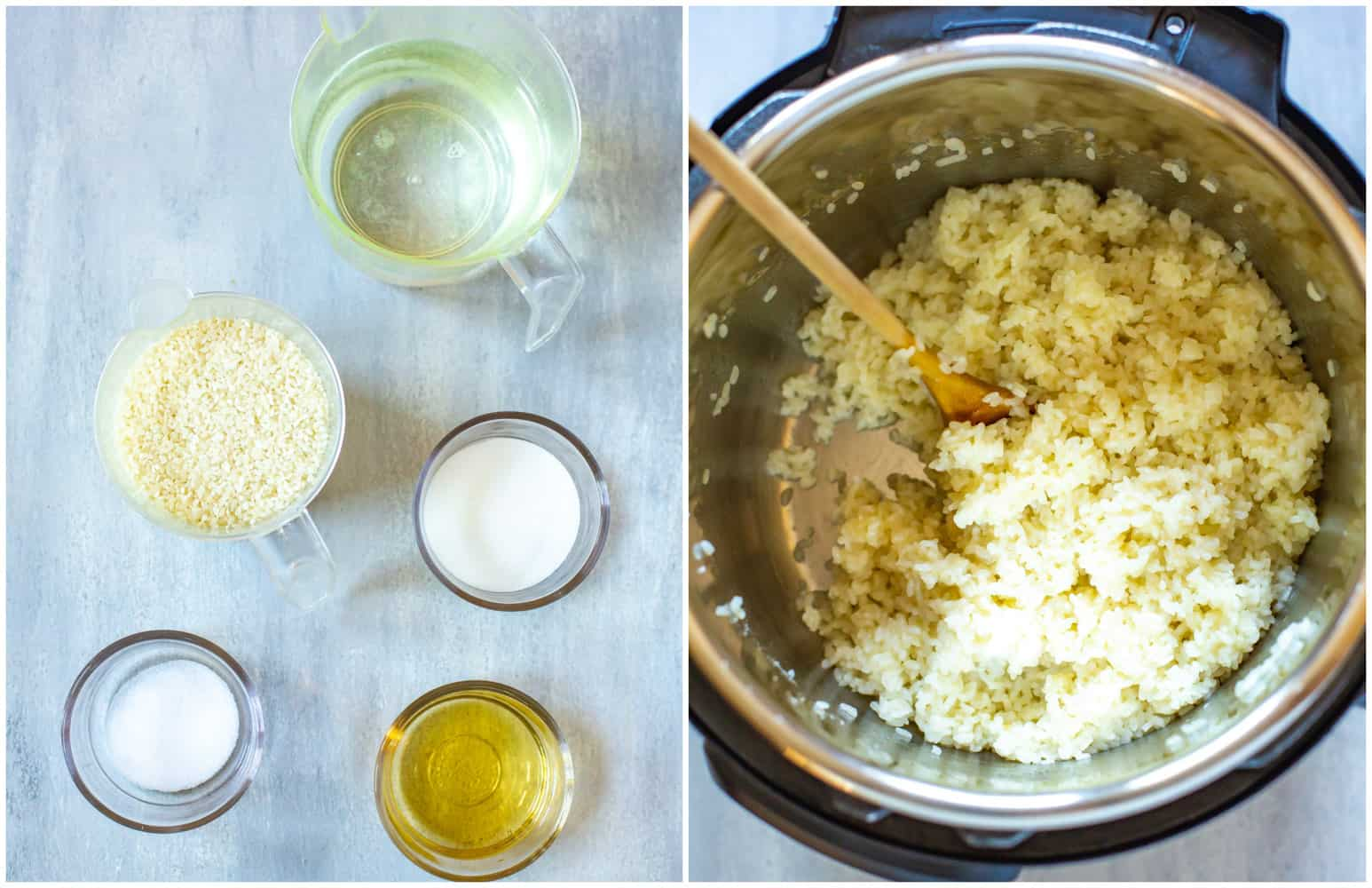 collage: ingredients needed to make sticky rice in pressure cooker, and cooked rice