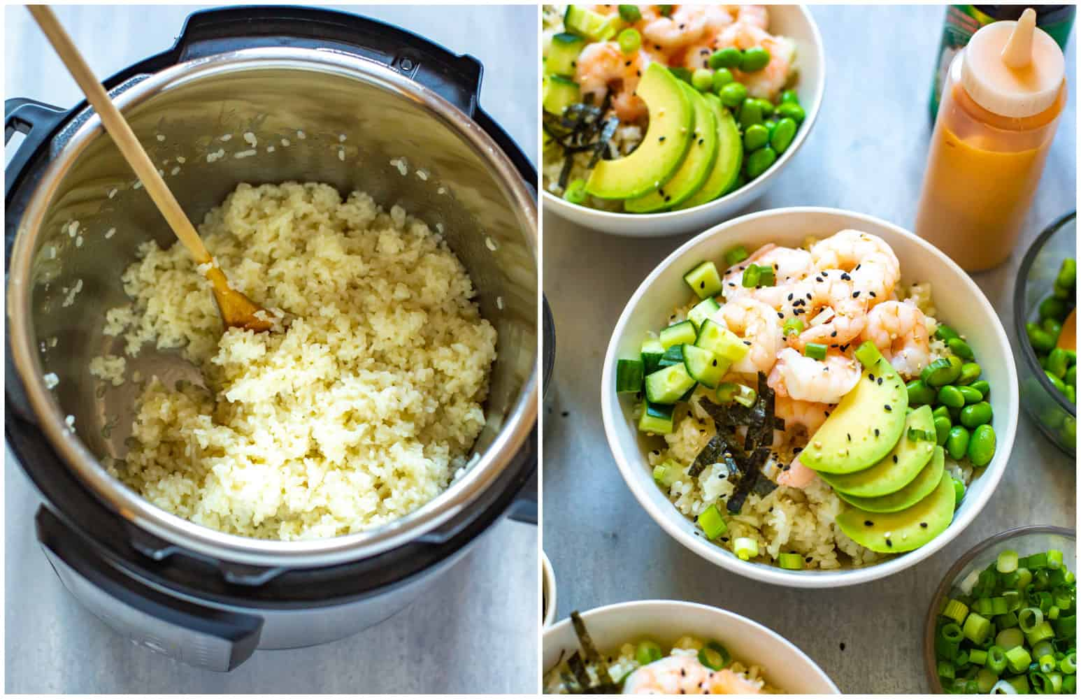 photo collage: rice in pressure cooker and bowl of rice with cooked shrimp