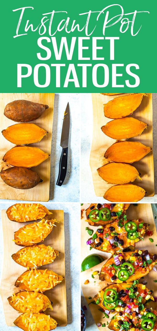These Instant Pot Sweet Potatoes turn out perfectly every time! Follow these easy step-by-step instructions, then learn how to load 'em up for a delicious meal in one! #sweetpotatoes #instantpot
