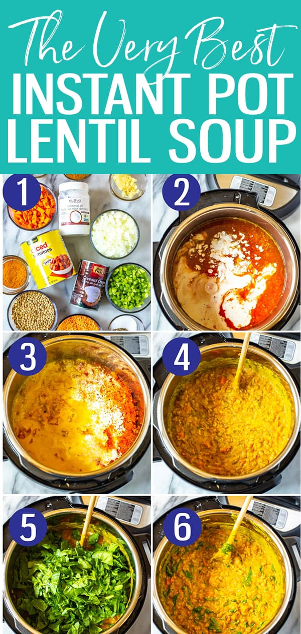 This is the best Instant Pot Lentil Soup on the web! With a coconut curry broth and red lentils, it's hearty and vegetarian - all you need is the crusty bread! #instantpot #lentilsoup