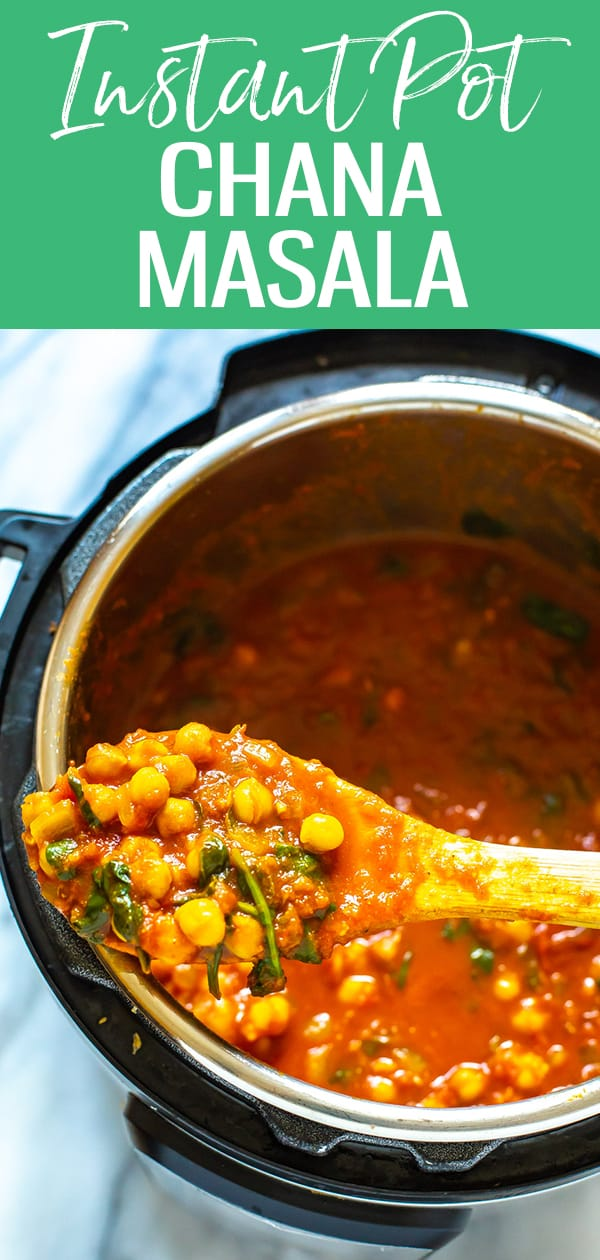 This Easy Instant Pot Chana Masala is a delicious vegetarian recipe - it's a tomato-based Indian chickpea curry that's hearty and comforting with lots of spice! #chanamasala #instantpot #chickpeacurry
