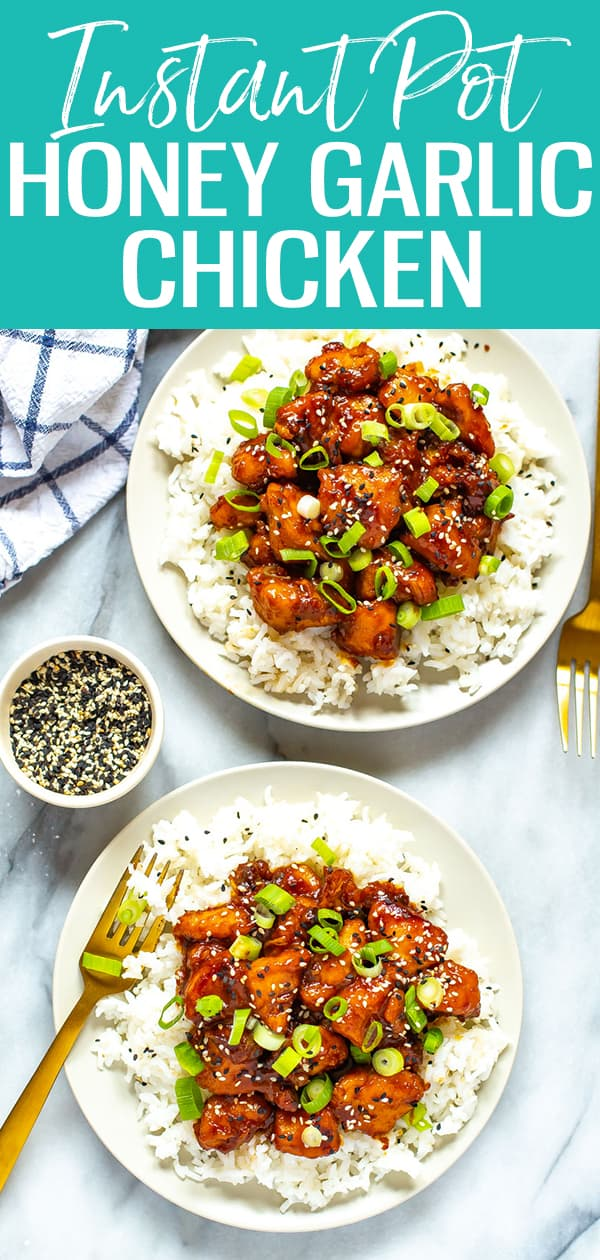 This Instant Pot Honey Garlic Chicken is Asian takeout made in 30 minutes, and it's got a sticky sweet sauce made from pantry staples! #honeygarlic #chicken #instantpot