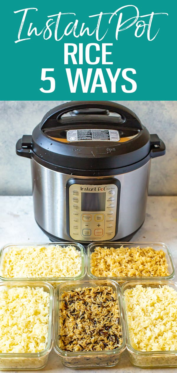 This Ultimate Instant Pot Rice Guide will show you how to make white, brown, jasmine, basmati and a wild rice blend in your pressure cooker perfectly every time! #instantpot #rice #wildrice