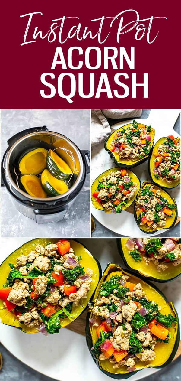 This Instant Pot Acorn Squash is stuffed with turkey sausage, red pepper, red onion and kale for a healthy and festive fall dinner idea! #instantpot #acornsquash
