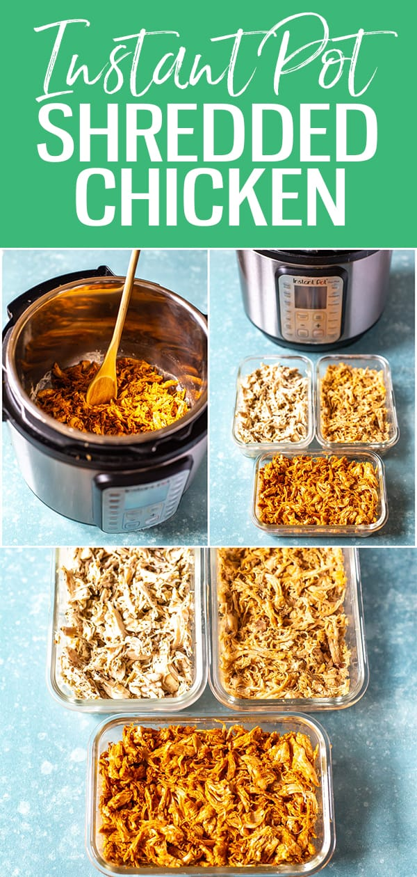 This Instant Pot Shredded Chicken Breast is seasoned 3 ways - try Mexican, Greek and Asian flavours, all made in less than 30 minutes. Plus, it's the juiciest chicken ever! #instantpot #shreddedchicken