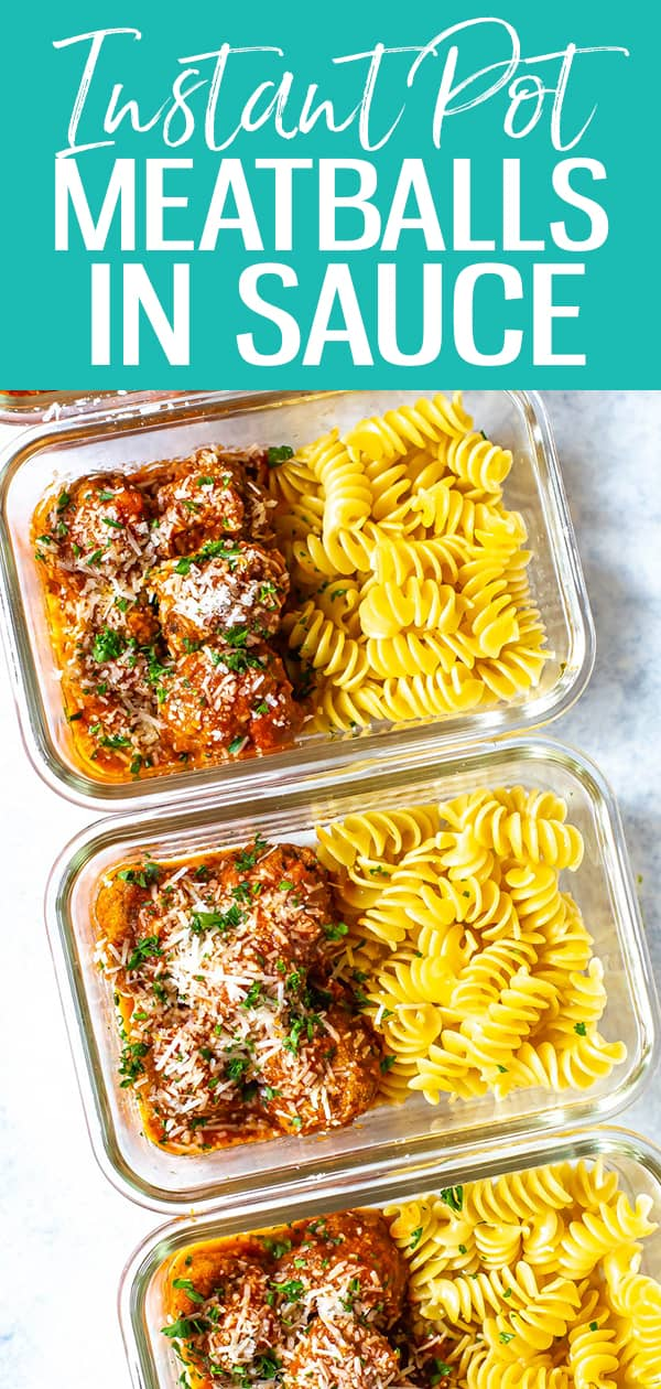 The Best Instant Pot Meatballs are pressure cooked for just 3 minutes in tomato sauce and covered in parmesan cheese - nosautéingrequired! #instantpotmeatballs