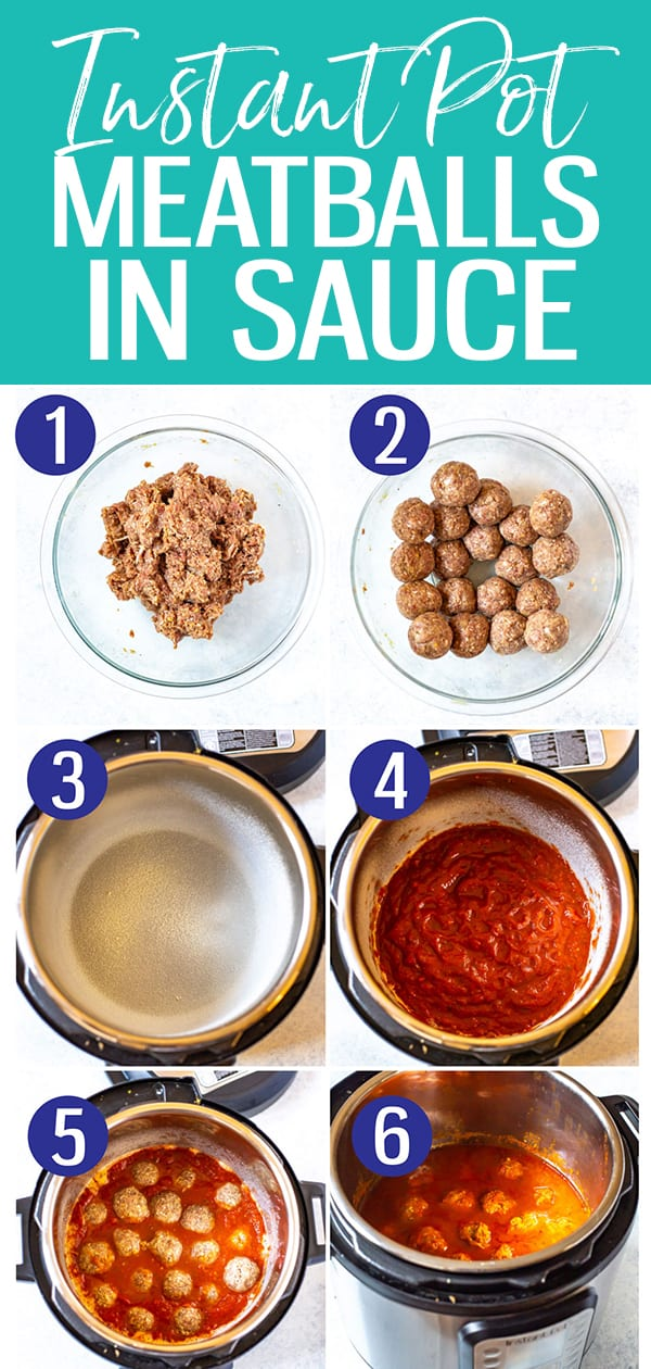 The Best Instant Pot Meatballs are pressure cooked for just 3 minutes in tomato sauce and covered in parmesan cheese - no sautéing required! #instantpotmeatballs
